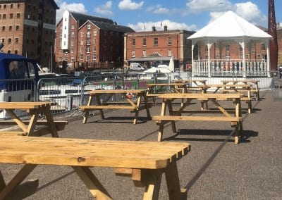 Picnic Benches at Gloucester Docks
