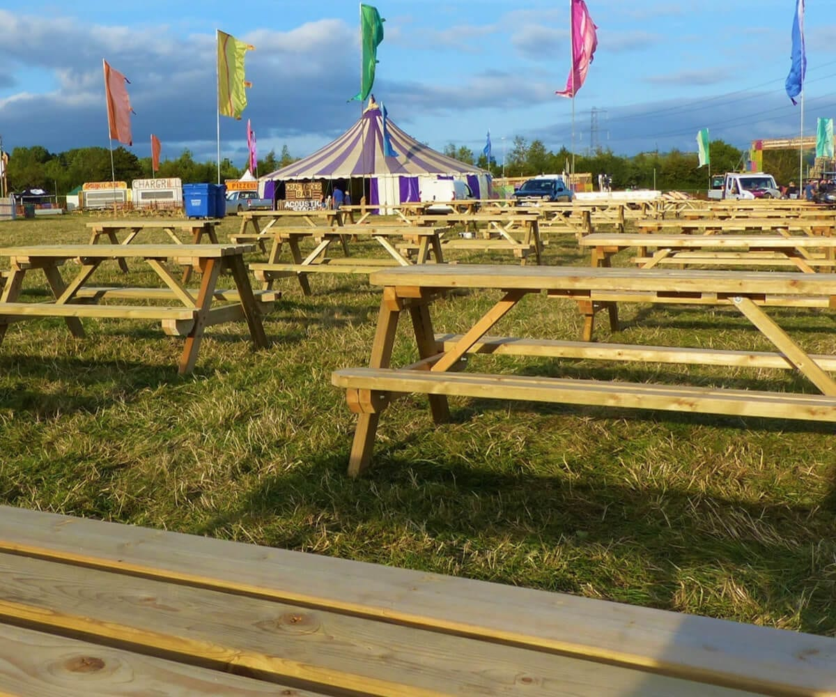 picnic benches for hire set up